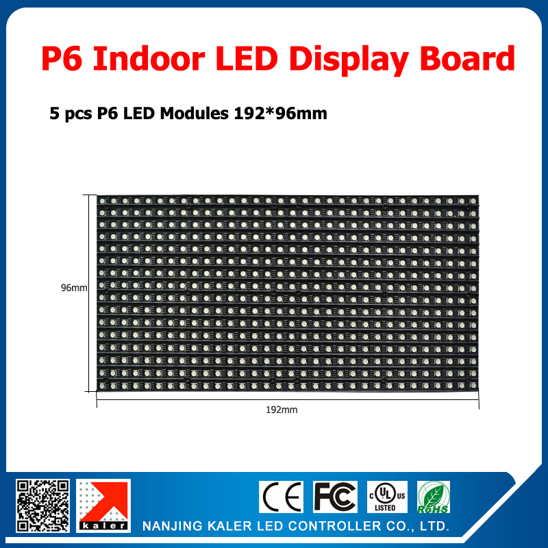 5pcs P6 Indoor Led Display Modules Running Text LED Sign Display Board Full Color Led Sign Board 96*960mm