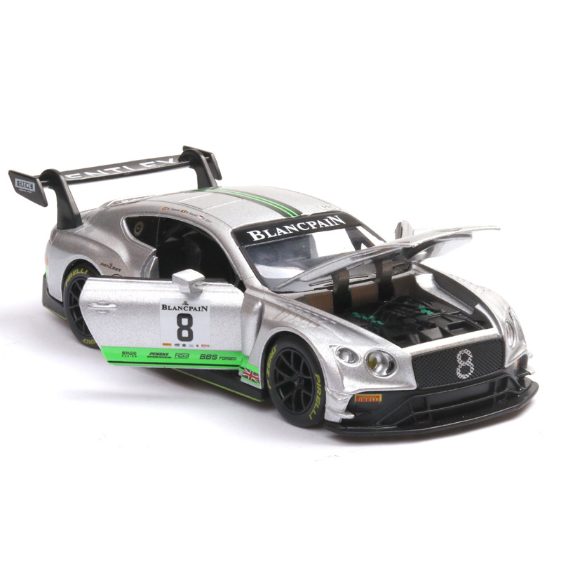 GT3 Race Car Alloy Model Simulation Bentley Alloy Diecasts Toy Vehicles Car Model Miniature Boy Toy Men's Collection Luxury Gift