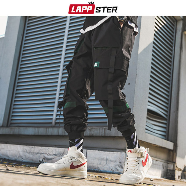 LAPPSTER Men Ribbons Streetwear Cargo Pants 2020 Autumn Hip Hop Joggers Pants Overalls Black Fashions Baggy Pockets Trousers 39