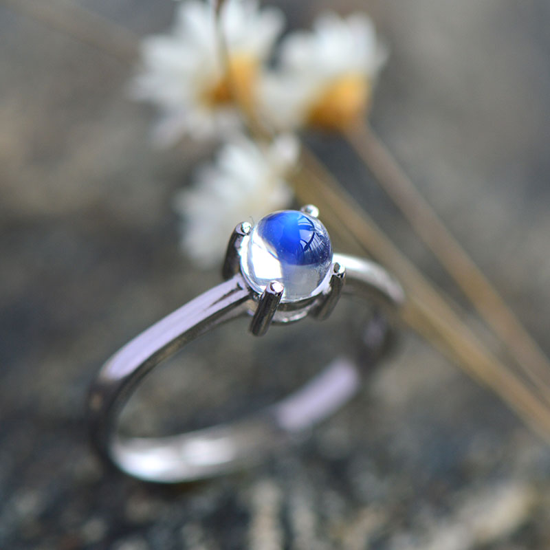 Nepal Bali India Natural Moon Stone Inlay Pure 925 Sterling Silver Ring For Women,Fine Jewelry For Wholesale bocai silver makeup india nepal bali silver acts the role of by hand rainbow blue moon stone ring