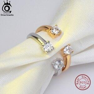 ORSA JEWELS 100% твердые женские кольца из стерлингового серебра регулируемые серебряные золотые с AAA блестящим CZ обручальное кольцо ювелирные из...
