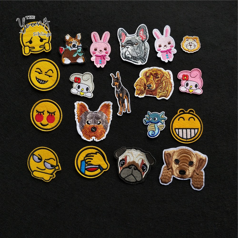 6 kinds for face expression Sewing Iron-on Clothes Patch Cartoon dog Embroidery Hotfix Patches Jeans Clothing Stickers 1pcs sell