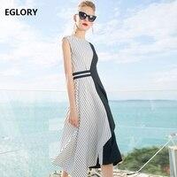 Lady Summer Dress Women Vestidos Striped Print Patchwork Sleeveless A Line Midi Dress Elegant Runway Designer Dress Clothes