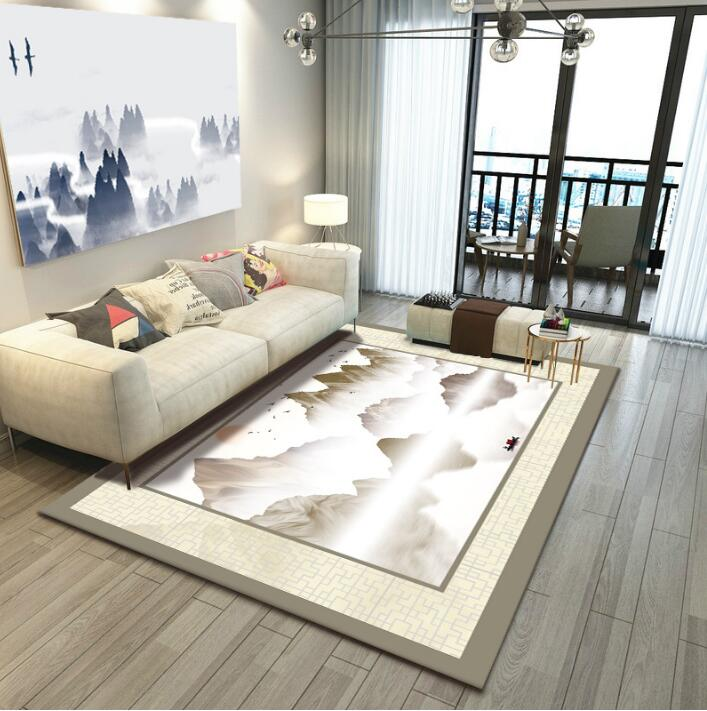 Chinese Printed Carpet Fengshui Ink Abstract Living Room Tea Table Modern Simple Mat free shipping