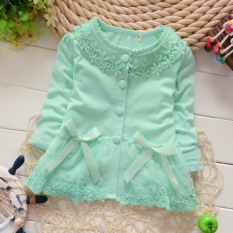 0a399aace New baby girl cardigan jacket pink cotton long sleeve knitted ...