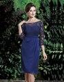 Elegant Royal Azul de Encaje Madre de la Novia de Gasa Corto 3/4 Madres vestido de Novia Longitud de La Rodilla de la manga Traje de Más Tamaño 2016 Madre Vestidos
