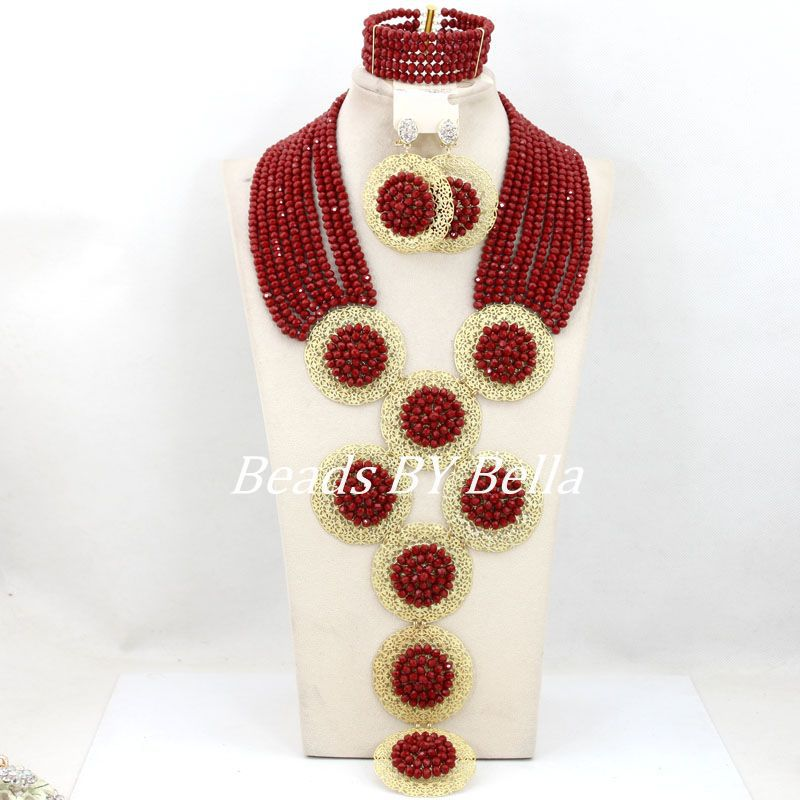 Luxury Women Costume Jewelry Set Burgundy Red Wedding African Bridal Jewelry Set Crystal Beads Necklace Set Free Shipping ABY802 luxury african beads bridal jewelry set 3 rows green crystal balls necklace set women costume jewelry set free shipping abc990