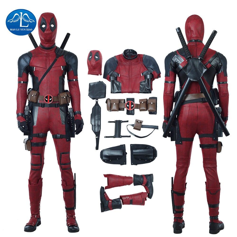 MANLUYUNXIAO Nouveau Hommes de Deadpool 2 Costume Mise À Jour Version Halloween Carnaval Deadpool Cosplay Costume Pour Hommes Custom Made