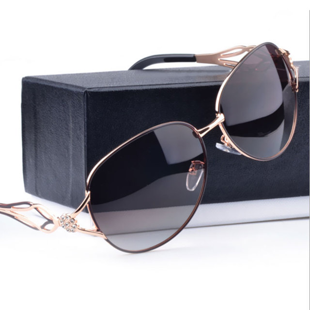 ab2858596b1 Polarized For Women Car Driving Hollow Metal Frame Brand designer Luxury Famous  Italy Sunglasses lady UV400 Fashion sun glasses