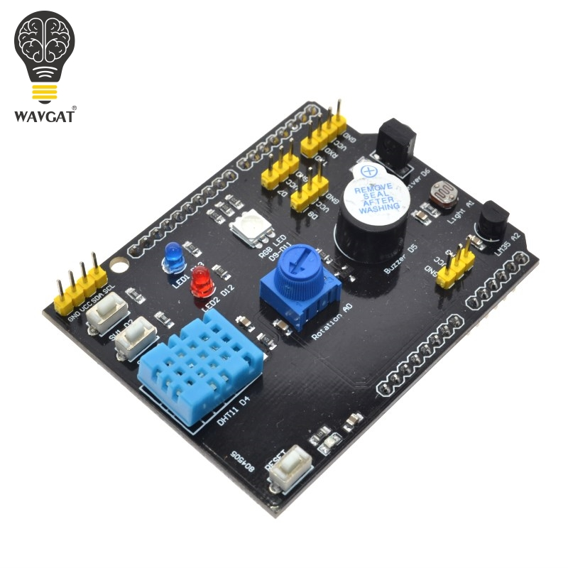 WAVGAT Multifunction Expansion Board DHT11 <font><b>LM35</b></font> Temperature Humidity For Arduino UNO RGB LED IR Receiver Buzzer sensor image