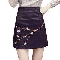 Vintage fleur brodé PU faux cuir jupe saia une ligne mince taille haute noir femmes jupes paquet hip mini jupes shorts