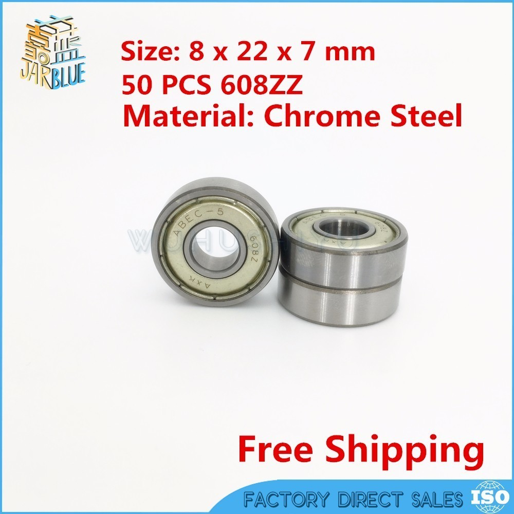 Free Shipping 50pcs/lot 608 ZZ 608ZZ ABEC-5 8X22X7 608Z bearing Miniature Deep Groove Ball Radial Ball Bearings 3D printer