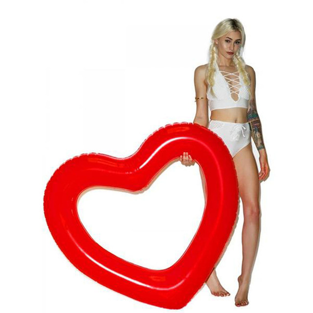 Charmant Inflatable Heart Air Mattress Swim Ring Water Boat Pool Swimming Bed Toy  Adult Kids Floating Heart