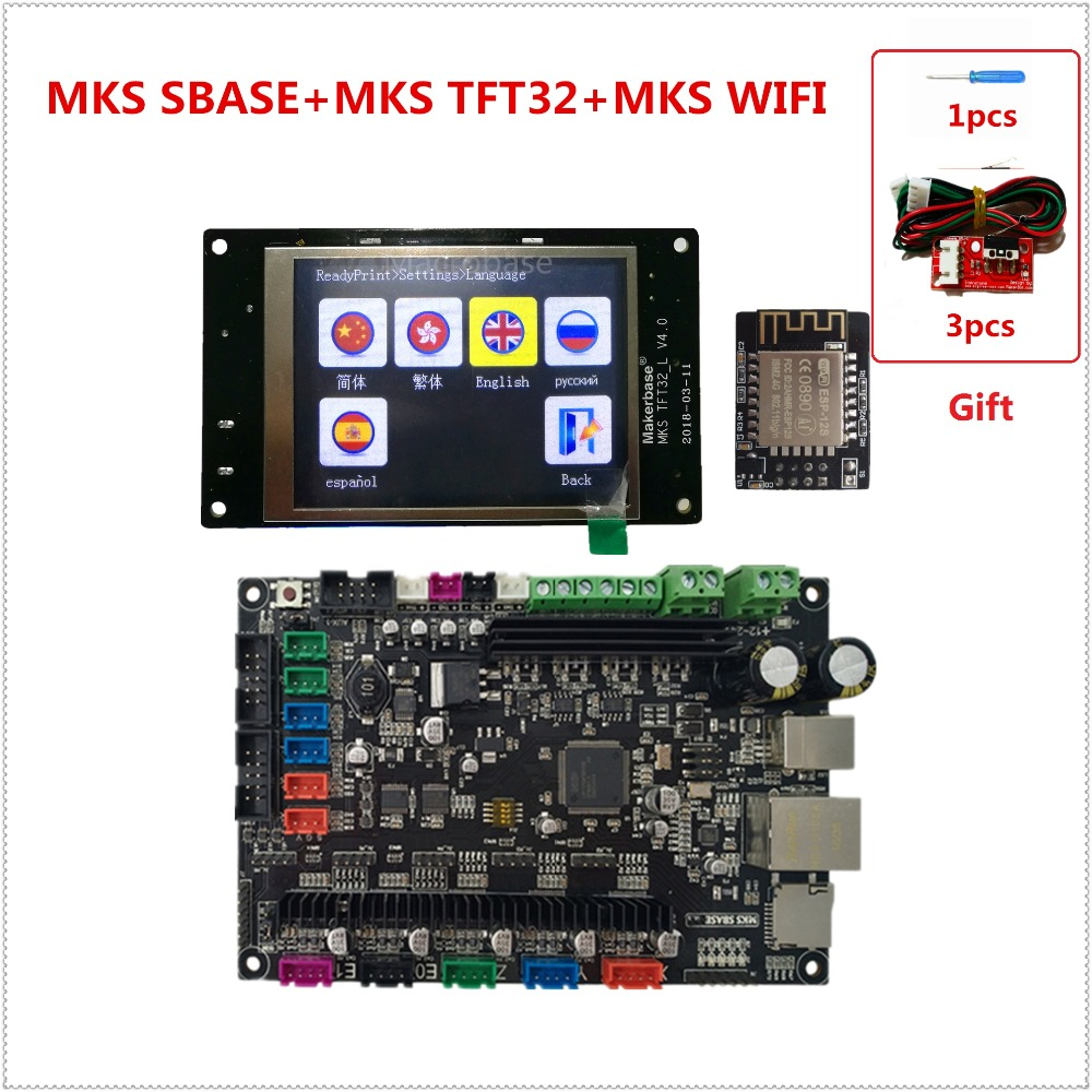 MKS SBASE + MKS TFT32 V4.0 + MKS WIFI 3D impresora kits controlador microcontrolador integrado smoothieboard Smoothieware