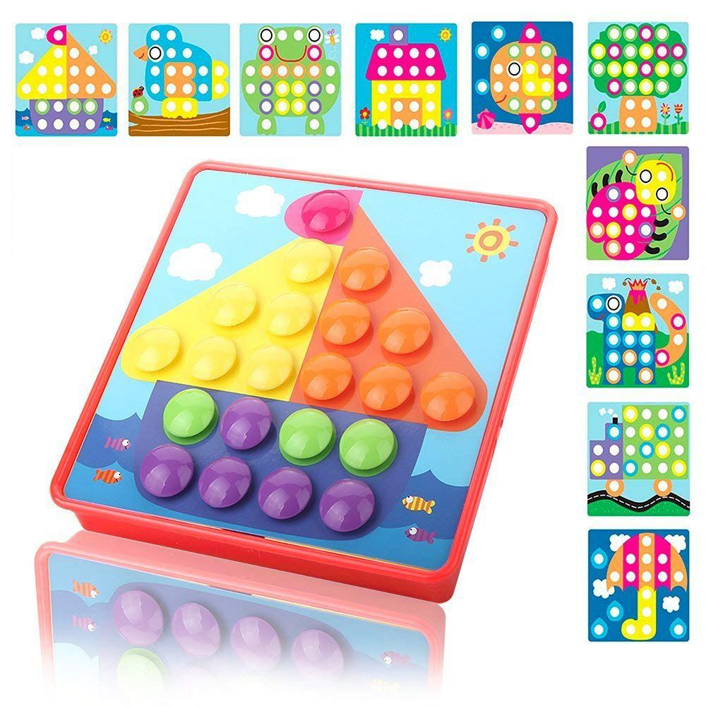 SANQ Button Art Color Matching Mosaic Pegboard Puzzles Early Learning Educational Toys For Boys and Girls