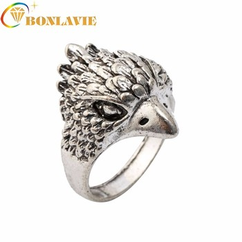 Fashion Design Owl Finger Ring For Men Cool Silver Color Retro Anel Masculino Knuck Ring For Party Jewelry Gift image