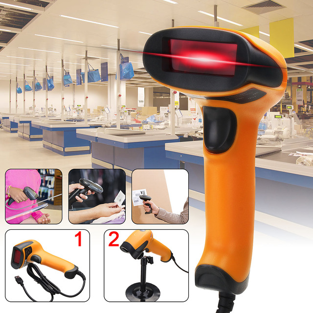Portable USB Laser Barcode Scanner Automatic Bar Code Scan Reader With Stand Handheld POS For Business Supermarket 1