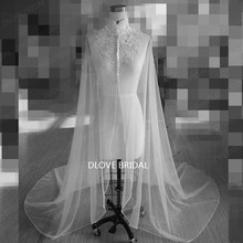 Romantic Lace High Neck Long Bridal Wrap Wedding Shoulder Veil Cloaks Factory Custom Make Mantle Bolero with Covered Buttons