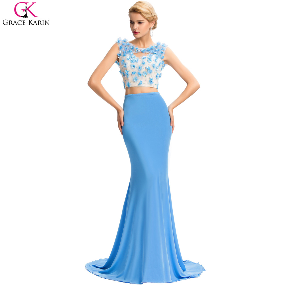 Two Piece Prom Dress Grace Karin Backless Formal Gowns Fashion ...