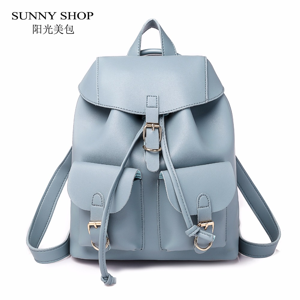 SUNNY SHOP Vintage Drawstring Women Backpack 2018 Stylish PU Leather Bagpack For School Girls Large Capacity Book Bag 8 Colors sunny shop new flower women drawstring backpack fashion school lady casual print backpack high quality pu leather school bag