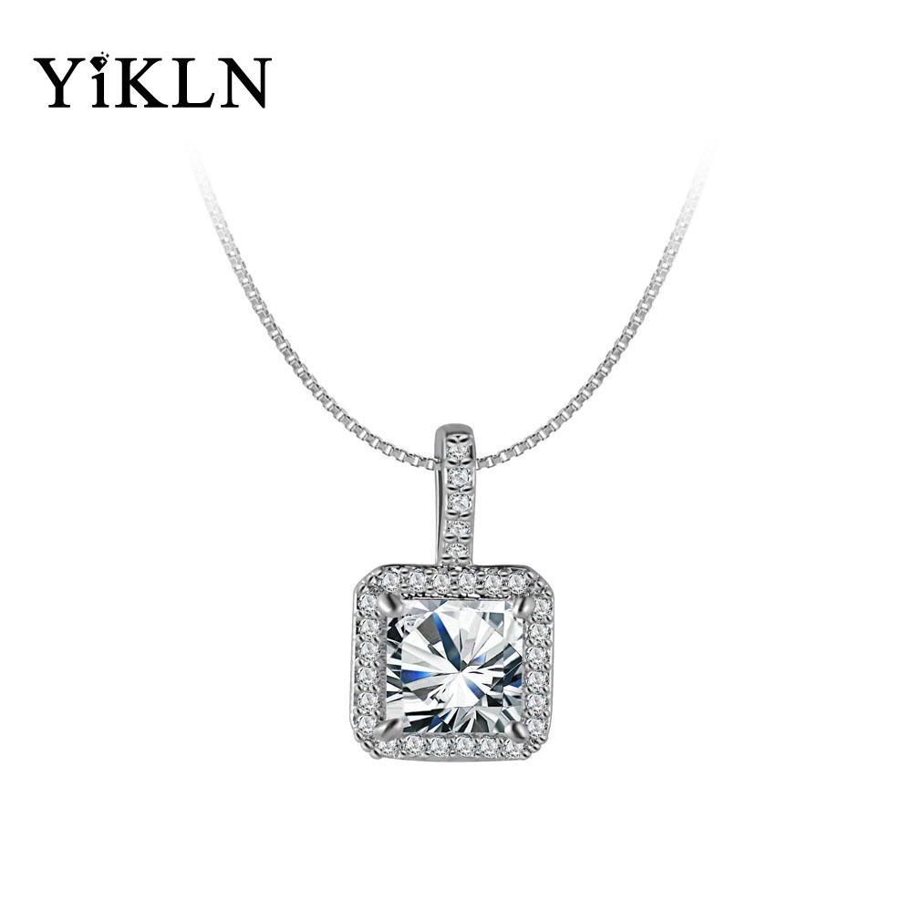 YiKLN Classic Wedding Pendant Necklace Solitaire Hearts
