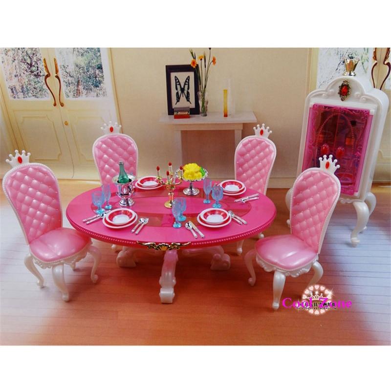 Miniatuur Meubels Prinses Eetkamer -C voor Barbie Poppenhuis Fantasiespel Speelgoed voor Meisje Gratis Verzending