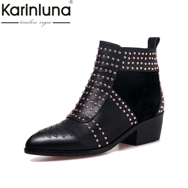 KARINLUNA Large Size 33-43 Genuine Leather Black Rivets Women Shoes Woman Fashion Square Heels Martin Boots Chelsea Bottine