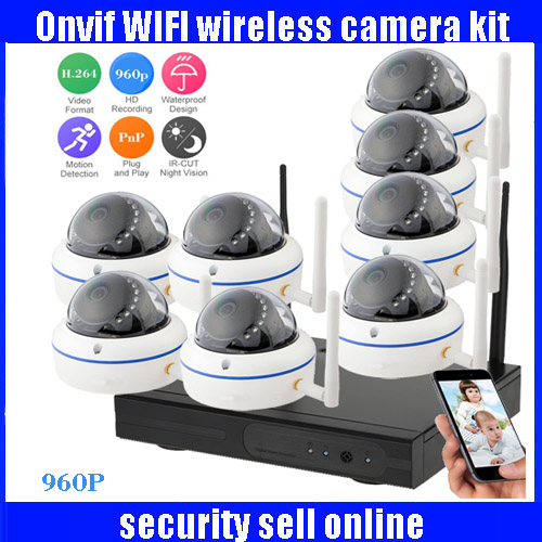 960P HD H.264 Waterproof Vandal-proof Dome IR IP Camera WIFI Security CCTV System 8CH Wireless NVR Surveillance Kit 720p full hd h 264 waterproof outdoor ir night vision ip camera wifi security cctv system 8ch wireless nvr surveillance kit