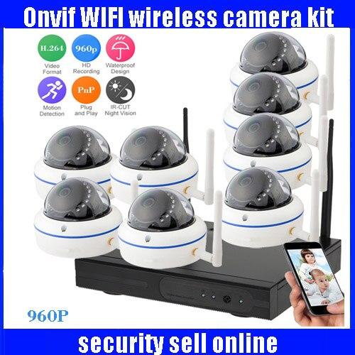 960P HD H.264 Waterproof Vandal proof Dome IR IP Camera WIFI Security CCTV System 8CH Wireless NVR Surveillance Kit