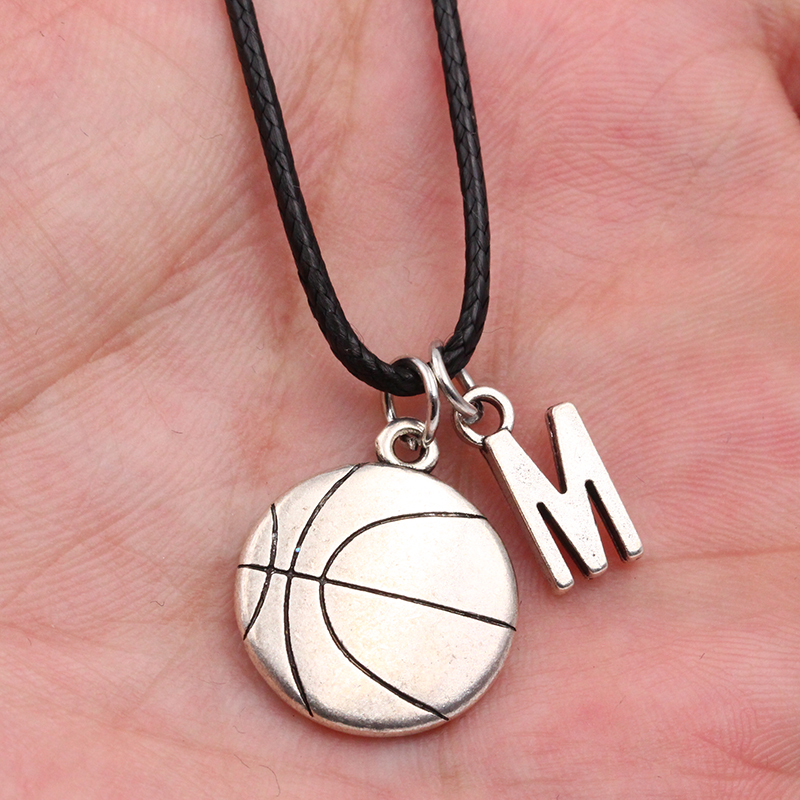 2019 New A-Z Letter Basketball DIY Handmade Pendant Leather Necklace For Men Women Fashion Jewelry Couple Holiday Gift