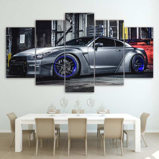 Modular Pictures Living Room Wall Art Canvas Sports Car Poster 5 Pieces Nissan Gtr R35 Painting Hd Printed Photo Framed