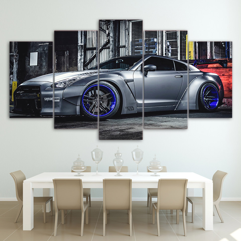 Modular Pictures Sala Arte Da Parede Da Lona Sports Car Poster Decor  -> Pintura Parede Sala