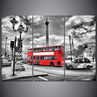 3 Panel Printed Wall Art London Red Bus Street Painting Canvas Living Room Decoration Wall Art Poster Picture Canvas