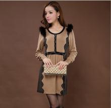 New winter medium-long floral wool sweater women's round neck long Slim luxury fur print stitching dress free shipping H1907