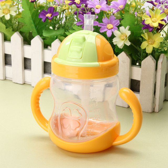 280ml Cute Baby Cup Kids Children Learn Feeding Drinking Water Straw Handle Bottle mamadeira Sippy Training Cup Baby Feeding Cup 3