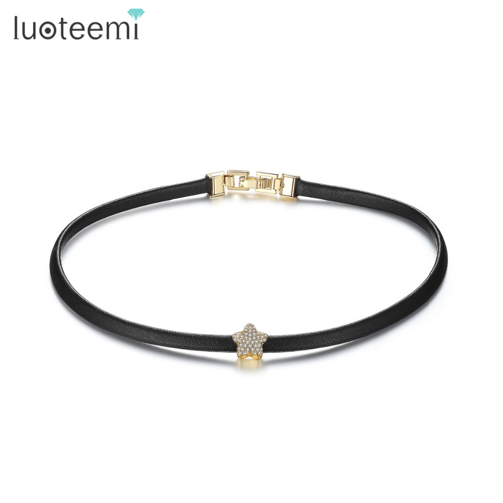 LUOTEEMI 2017 New Gothic Trendy Stylish Punk Black Leather Chain - Κοσμήματα μόδας