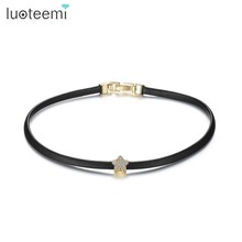 LUOTEEMI 2017 New Gothic Trendy Stylish Punk Black Leather Chain Choker Star CZ Necklace for Women Girls Bar collier boheme