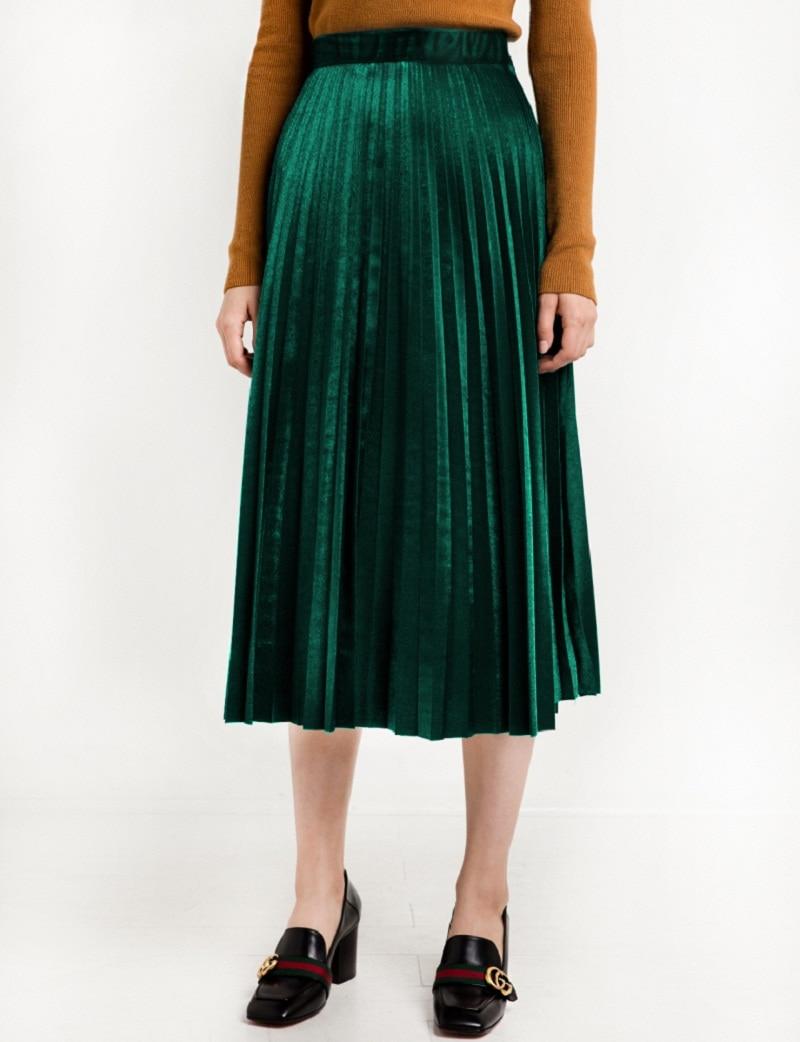 2016 Chic Vintage Frau Highwaist Plissee Velvet Rock Slim Maxirock - Damenbekleidung
