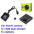 1PC Xiaomi MI Yi Action Sports Camera 3.7V 1010mAh Li-ion Battery+1pc Battery Charger Charging Dock aksesoris accessories