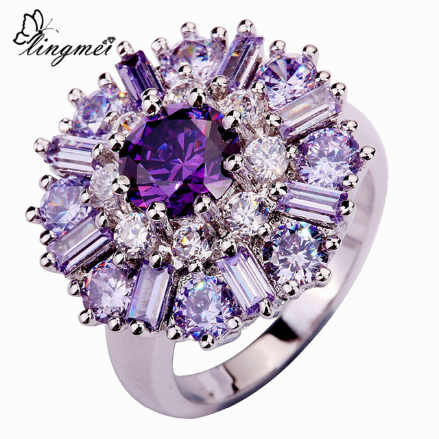 lingmei Wholesale Charming Flower Purple Tourmaline White CZ Silver Color Ring Size 7 8 9 10 11 12 Alluring Women Jewelry