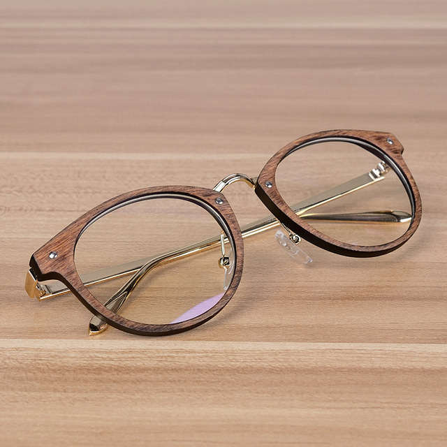 bfee0771eee43 B Grain Wood Optical Glasses For Women Fashion Round Frame Men Design  Myopia VINTAGE