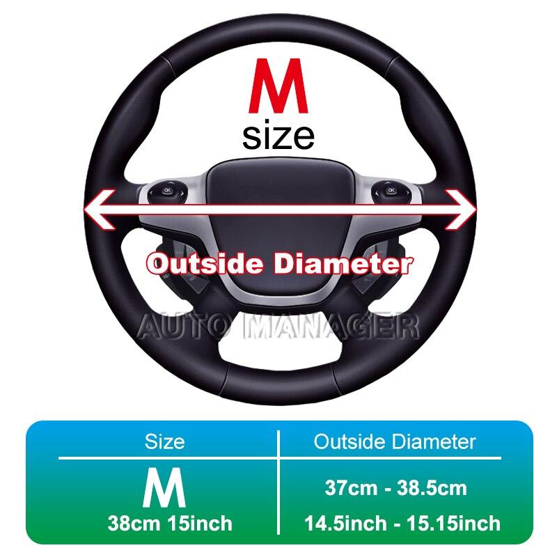 Trenza de cuero genuino cubierta del volante Automóvil trenzado - Accesorios de interior de coche - foto 6