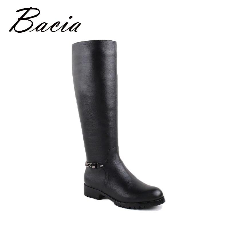Bacia/Сапоги до колена Длинные теплые волосы внутри для Зима ручной высокое качество Туфли без каблуков черные сапоги из натуральной кожи для ...