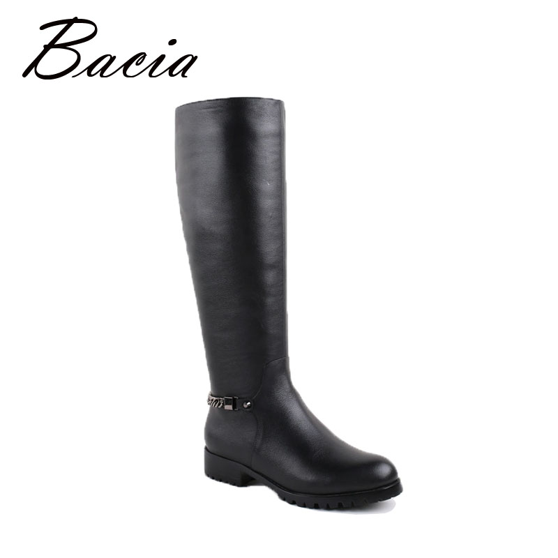 Bacia Knee High Boots Long Warm Hair Inside for Winter Handmade High Quality Flats Black Genuine Leather Boots For Women VB026 crystal long tassel zanhuaji vintage classical hair stick for tv play legend of chinese empress wumeiniang handmade hair sticks
