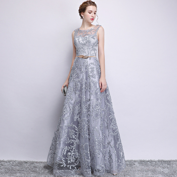 New 2019 Evening Dress Elegant Banquet Champagne Lace Sleeveless Floor-length Long Party Formal Gown plus size Robe De Soiree 5