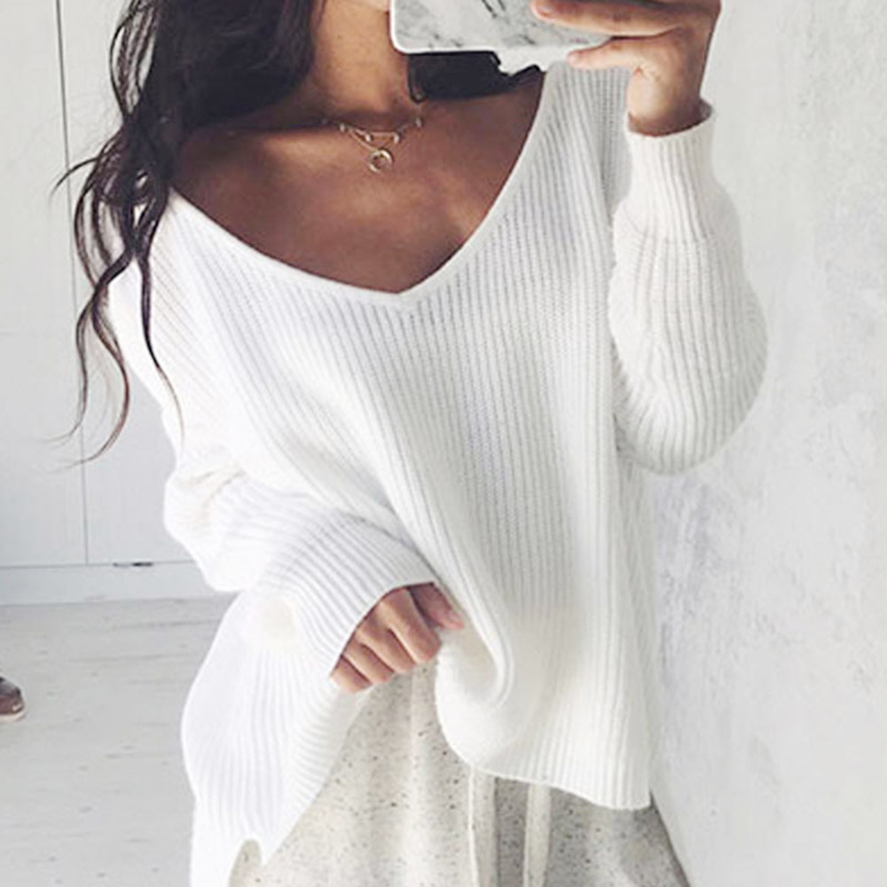 Off Shoulder Sweater Women Split Knitted Tops 2019 New Spring Autumn Pullover Knitwear Woman Clothes Black White V-neck Sweaters thumbnail