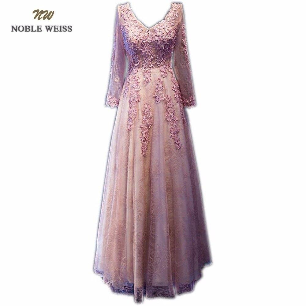 NOBLE WEISS Lace Evening Dress Robe De Soiree Courte Elegant 2019 Long Sleeves V Neck Dinner