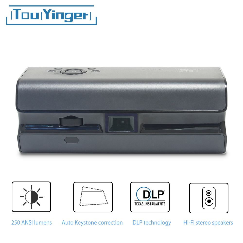 Touyinger K1 Mini pocket projector 250ANSI Lumens Android wifi portable Handheld smartphone Bluetooth HDMI Home cinema