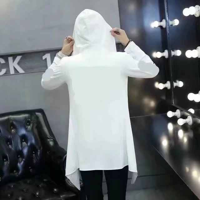 Мужская готика Готический куртка панка с капюшоном куртка длинный кардиган Кенгурушка Ninja пальто M ~ 2XL