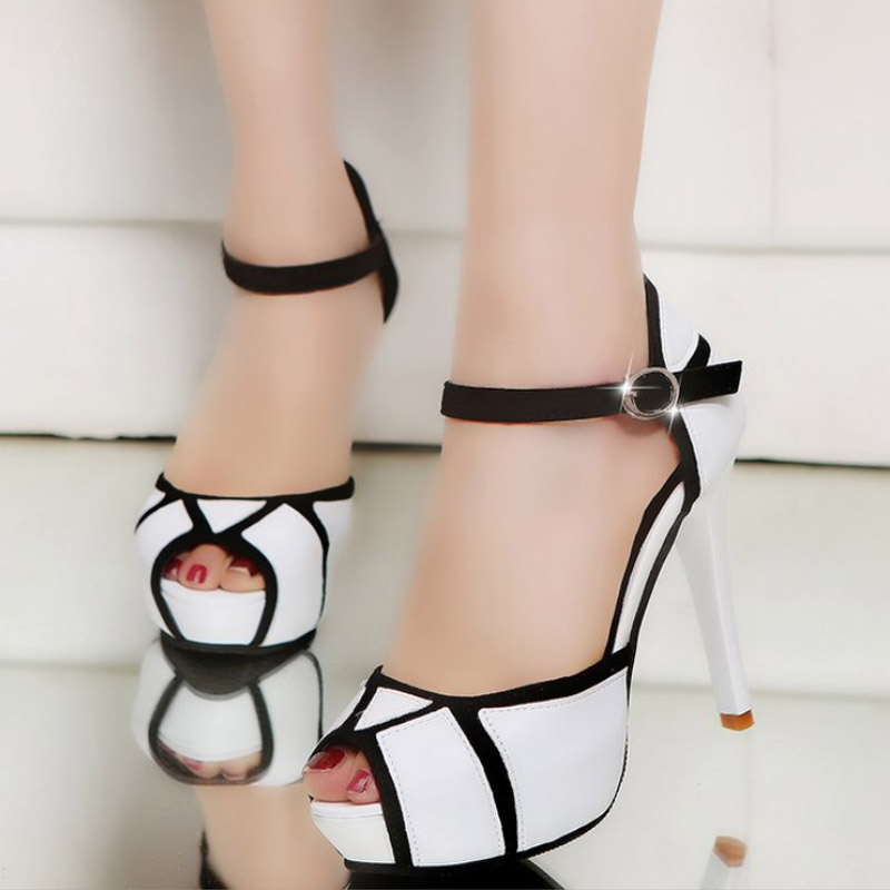 Summer Hollow Buckle High Heels Women/'s Fight Color Fish Mouth Shoes Ladies Shoe